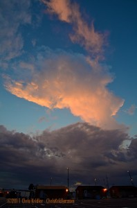 A tower reaches for the sky as a cold front passes through on April 11, 2011