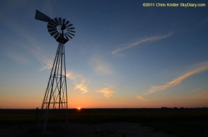 Kansas sunset with windmill