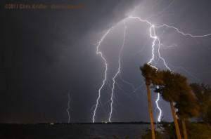 Lightning over Indialantic, Florida, on June 14, 2011
