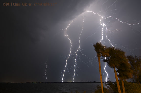 Lightning over Indialantic, Florida, on June 14, 2011