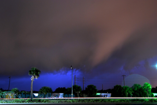 A suspicious lowering was a persistent feature of a tornado-warned storm as it approached me in Rockledge, Florida. Photo by Chris Kridler, ChrisKridler.com
