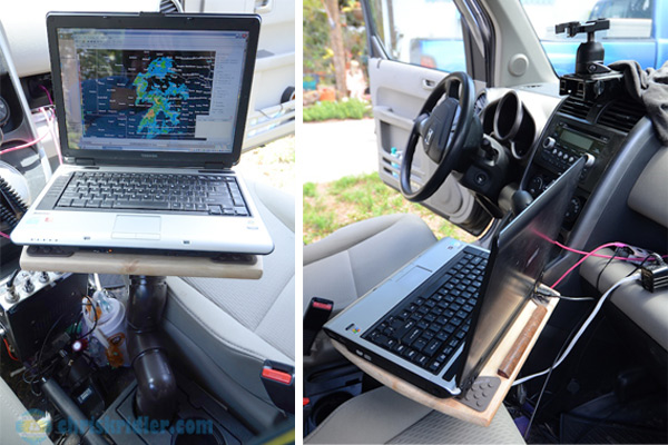 Here's the laptop mount in the car. Photo by Chris Kridler, ChrisKridler.com, SkyDiary.com