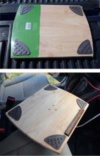 For the laptop tray, I used a cutting board that already had rubber feet, which would go on top to help hold the computer in place. A piece of quarter-round molding also helps steady the laptop. Photo by Chris Kridler, ChrisKridler.com, SkyDiary.com