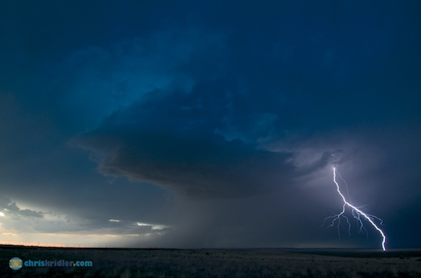 This pretty storm and its brothers produced prolific lightning at twilight south of Oakley, Kansas. Photo by Chris Kridler, ChrisKridler.com, SkyDiary.com