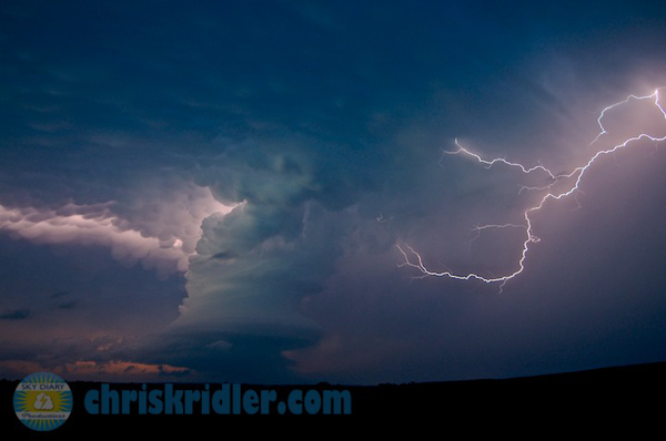 This is one of my favorite images from the May 26 low-precipitation supercell. It had great structure, mammatus clouds and lightning. Photo by Chris Kridler, ChrisKridler.com, SkyDiary.com