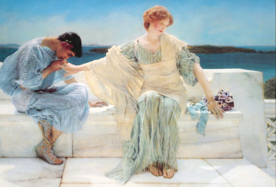 It doesn't pay to be coy. (Painting by Sir Lawrence Alma-Tadema)