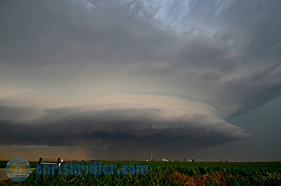The El Reno supercell's huge tornado was obscured by rain and dust to observers any distance away. Photo by Chris Kridler, ChrisKridler.com, SkyDiary.com
