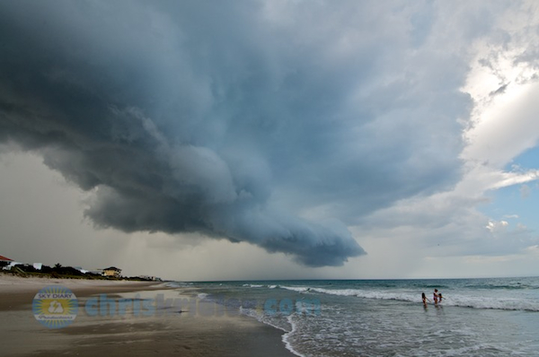 A storm sweeps over Satellite Beach, Florida, on July 22, 2013. Photo by Chris Kridler, ChrisKridler.com, SkyDiary.com