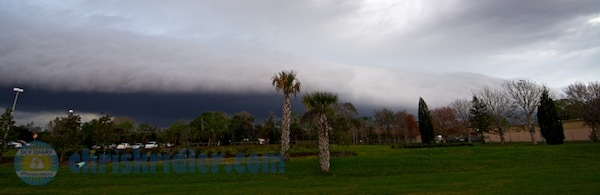 Just shy of severe weather awareness week, a shelf cloud from an outflow boundary moves over Cocoa, Florida, on Feb. 23, 2014. Tornado warnings were issued farther north. Photo by Chris Kridler, ChrisKridler.com