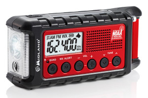 This light, portable weather radio from Midland, the ER300, sounds alerts and has a variety of other functions.