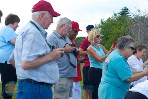 A small sample of the enthusiasts greeting the baby birds Monday. Photo by Chris Kridler, ChrisKridler.com