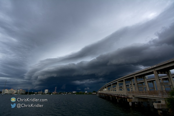 I really liked the look of the shelf cloud as it passed over Cocoa, Florida, and the Indian River Lagoon. Photo by Chris Kridler, ChrisKridler.com, SkyDiary.com