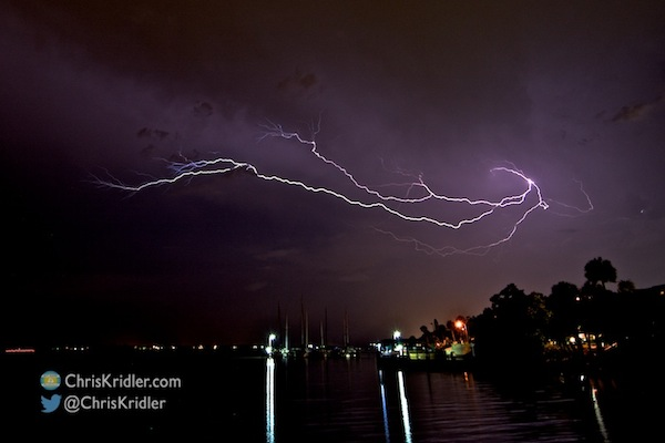 The last gasp of lightning on July 24, as seen looking south from Rockledge, Florida. Photo by Chris Kridler, ChrisKridler.com, SkyDiary.com