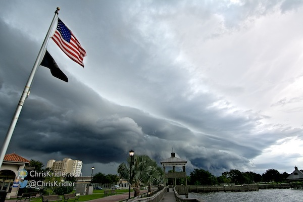 A shelf cloud as shot from Cocoa, Florida, on July 25, 2014. Photo by Chris Kridler, ChrisKridler.com, SkyDiary.com