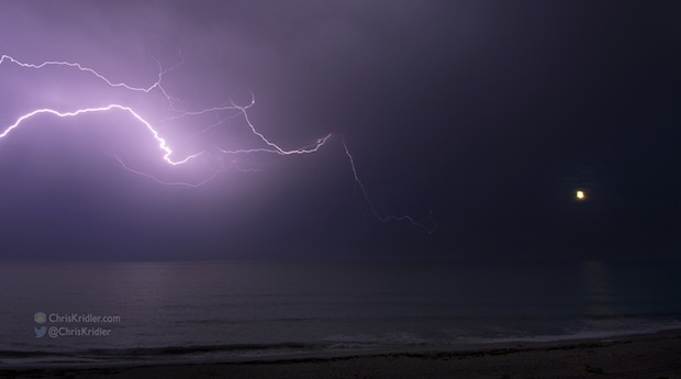 July 1, 2015, lightning storm over the ocean at Indialantic, Florida, with the full moon. Photo by Chris Kridler, ChrisKridler.com, SkyDiary.com