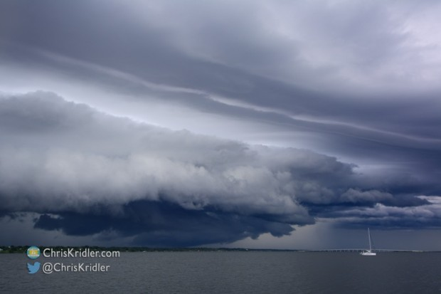 A shelf cloud over the Indian River Lagoon and Cocoa, Florida, on July 6, 2015. Photo by Chris Kridler, ChrisKridler.com