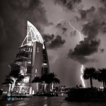 Lightning at Exploration Tower at Port Canaveral.