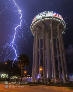 Another lightning bolt strikes near the Cocoa, Florida, water tower on Sept. 28, 2016. Photo by Chris Kridler, ChrisKridler.com