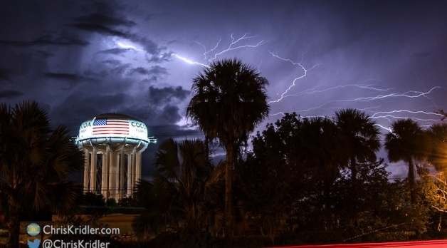 28 September 2016: Dazzling lightning at Cocoa, Florida, water tower