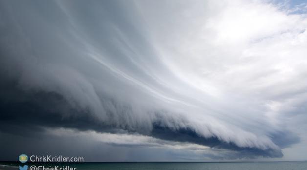 13 August 2015: Beautiful shelf cloud over Satellite Beach, Florida