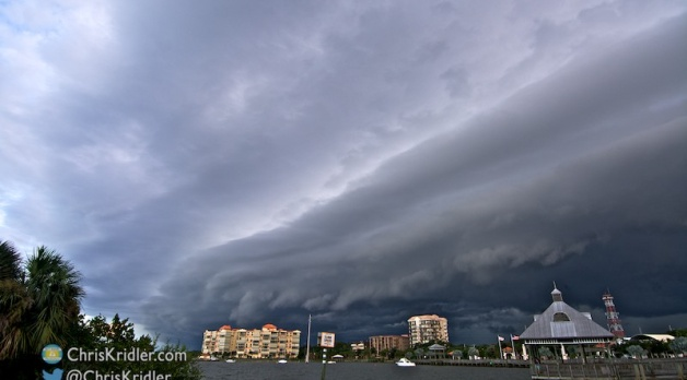 14 July 2014: Shelf cloud from Cocoa to Cocoa Beach, Florida